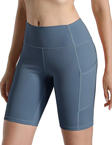 Natural Feelings High Waist Yoga Shorts Side Pockets Fitness Athletic Workout Running Bike Shorts Gray Blue