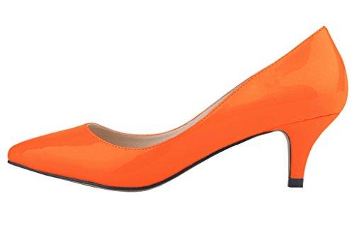 Slip Orange PU Pointed Closed Women's Toe Heel Dress Kitten On Low Patent Pumps qOtn6vw4nx