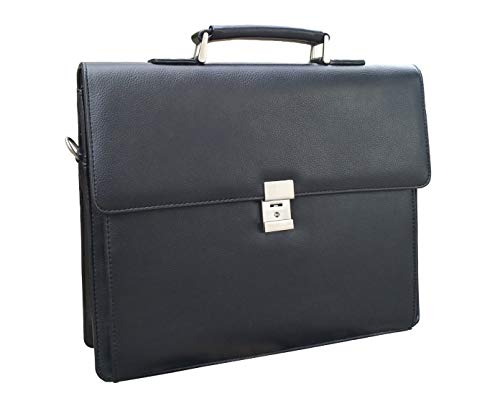 - 【ON SALE】Mens Leather Business Briefcases Expandable Lawyer Attache Case with Locks 15.6