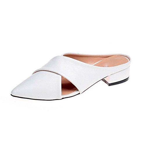 Moda Punta A Pantofole Spessore Tacco Ladies Sandali weiwei E Pantofole Basso bianca Estate T0cqxX