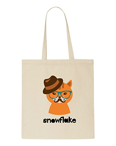 Snowflake Tote Shopper Character Quote Bag Hipster Vintage Style Animal Cat2 Beige WqSZYOYw