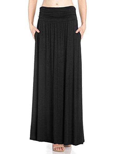 Fashion California Womens 1 Pack High Waist Shirring Maxi Skirt Side Pockets (Medium, Black)