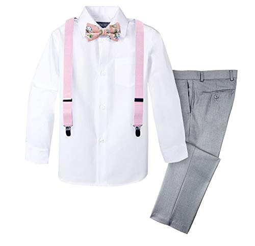 Spring Notion Boys' 4-Piece Suspender Outfit with Cotton Floral Bow Tie 05 Light Grey/Light Pink -