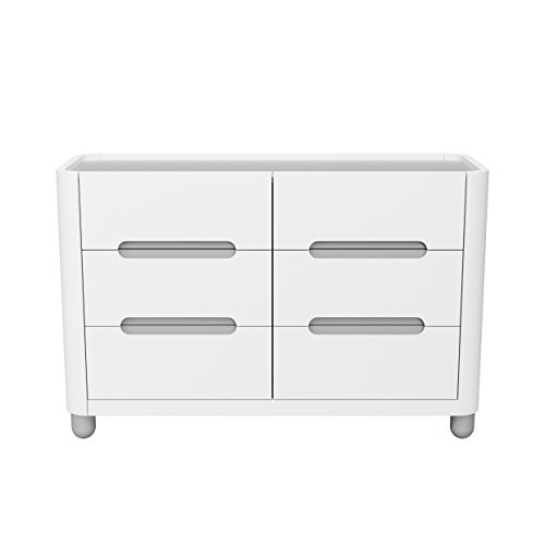 (Storkcraft Roland 6 Drawer Dresser, White/Pebble Gray, Kids Bedroom Dresser with 6 Drawers, Wood & Composite Construction, Ideal for Nursery, Toddlers Room, Kids Room)
