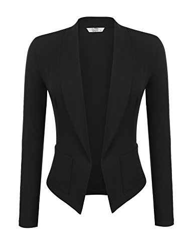Tweed Fitted Jacket (Soteer Women's 3/4 Ruched Sleeve Casual Office Jacket Slim Fit Blazer Coats Black M)