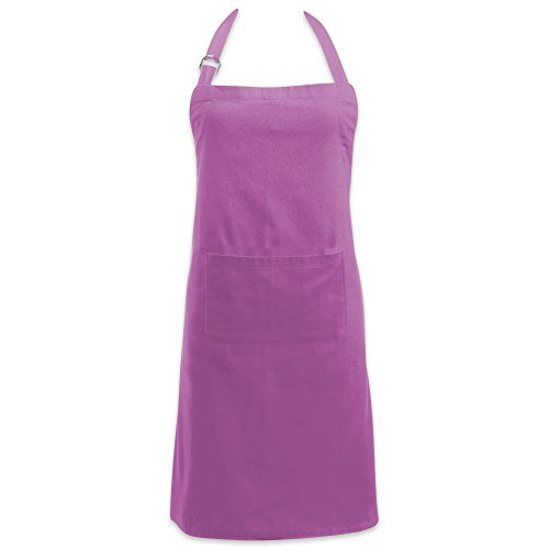 Apron Bbq Purple (DII Cotton Adjustable Kitchen Chef Apron with Pocket and Extra Long Ties, 32 x 28