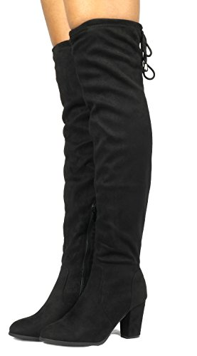 DREAM PAIRS HIGHLEG Women's Thigh High Fashion Over The Knee Drawstring Strech Block Mid Heel Boots Black-SZ-8.5