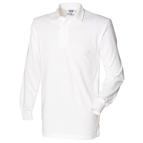 Rugby Sleeve Ribbed Long - Front Row Mens Long Sleeve Sports Rugby Shirt - Large / Chest 40 - 42in - White