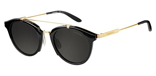 Carrera 126S 6UB Shiny Black/Gold Black 126S Round Sunglasses Lens Category 3