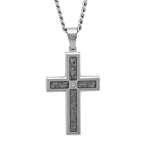 "Jewelry Nation Men's Diamond Accent Stainless Steel Cross Pendant Necklace with Chain, 24"" from Jewelry Nation"