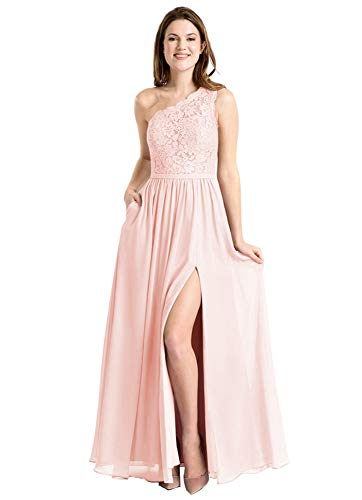 Ufashion Women's One Shoulder Chiffon Bridesmaid Dresses A Line Prom Gown with Pockets Size 10 Blush Pink (Chiffon Pocket)