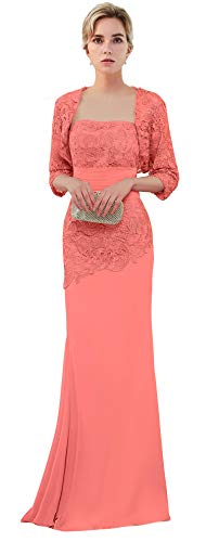 VaniaDress Women Long Mother of The Bride Dress with Jacket Formal Gowns V263LF Coral US16