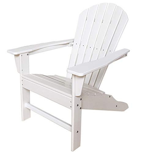 - Skyards Outdoor All-Weather Faux Wood Adirondack Chair, High-Density Polyethylene No Crack & Peel Stain-Resistant Patio Lawn Chair (White)