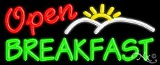(Breakfast Open Business Neon Sign - 13 x 32 x 3 inches - Made in USA)