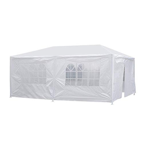 (JOO LIFE 10' x 20' White Outdoor Gazebo Canopy Party Wedding Tent Heavy Duty Gazebo Pavilion 6 Removable sidewalls,White Canopy Tent)