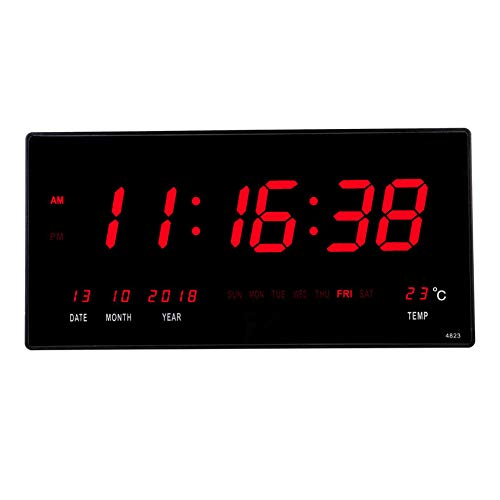 18.5 Inch Oversized LED Digital Wall Clock/Calendar Large Display with Indoor Temperature Date and Day of Week,Electric Wall Mounted Desk Clock Timer,Red