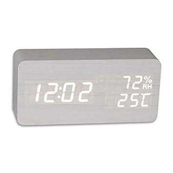 123 Relojes de Alarma, Humedad Reloj de Alarma Control de Voz Reloj de Madera Led