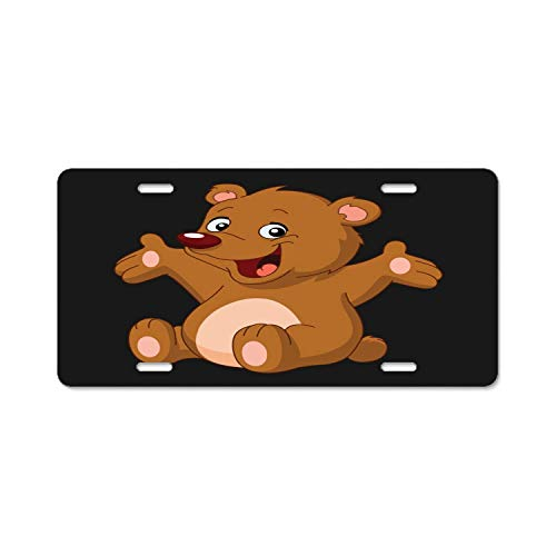 luckmx Top Craft Case Black Happy Teddy Bear License Plate Auto Car Tag