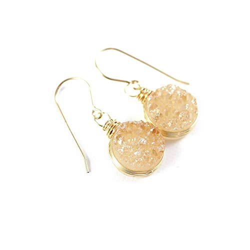 Champagne Druzy Gold Dangle Earrings Valentine's Day Jewelry Gift for Her