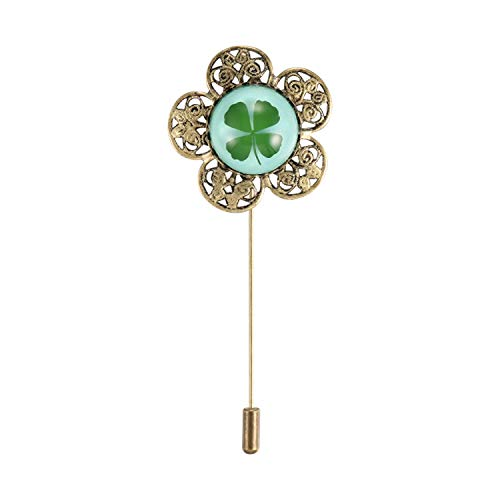 FM FM42 Blue Background Dried Leaves Real Lucky 4-Leaf Clover Round Dome Lapel Brooch Pin CP1908