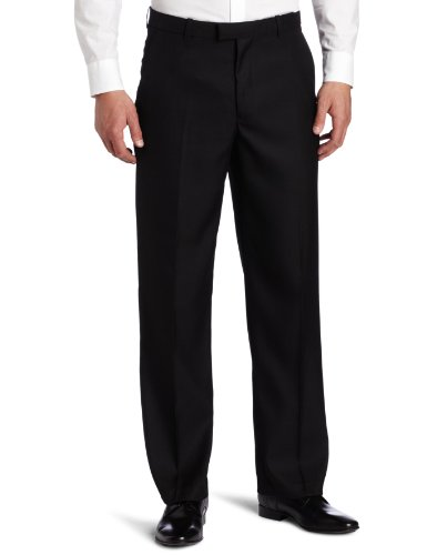 Perry Ellis Men's Portfolio Classic Fit Flat Front Folio Flex Waistband Sharkskin Pant, Black Ice, 34x32