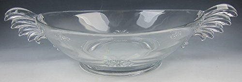 (Fostoria Pressed Glass BAROQUE-CLEAR Handled Oval Bowl/Console VERY)
