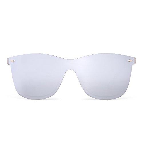 Rimless Mirrored Sunglasses One Piece Frameless Eyeglasses Men Women (Transparent/Mirror Silver)