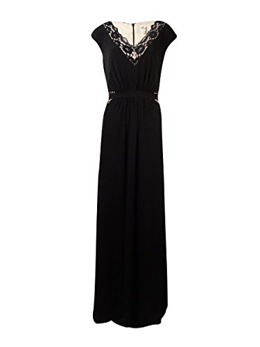 Sangria Women's V-Neck Lace-Trim Jersey Gown (12, Black/Putty)