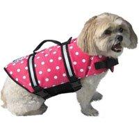 Designer Dog Life Jacket in Pink Polka Dot Size: Medium (Dogs 20 - 50 lbs)