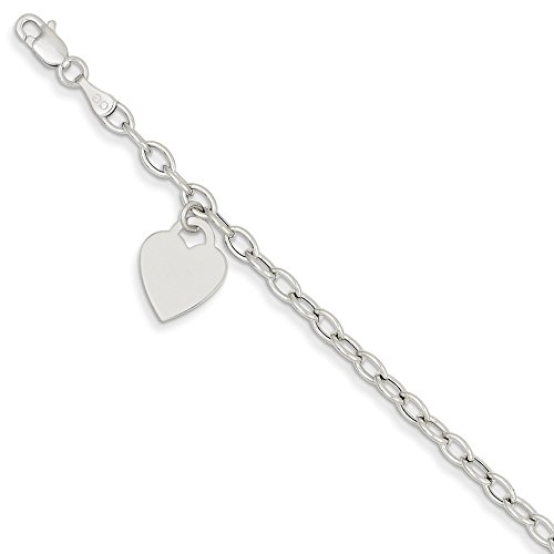 14k White Gold Dangle Heart Bracelet 7.5 Inch Charm W/charm/love Fine Jewelry Gifts For Women For Her
