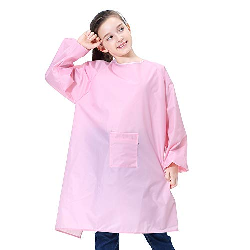 Girls Smock - Kids Art Smock Painting Apron for Toddler Preschool Children with Pocket,Long Sleeves,Long Section,Waterproof (XXL for Age 6-8, Pink for Girl)