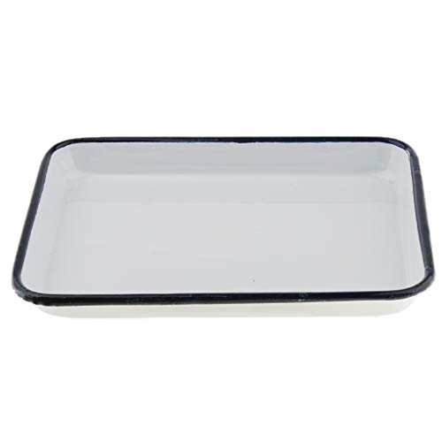 Almencla Enamel Butcher Tray Medical Lab Instrument Disinfection Tray Fruit Tray, Multipurpose, 4 Sizes Optional - 20x30cm