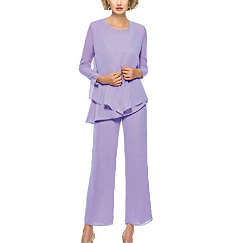 Mother of The Bride Pant Suits 3 Piece Outfits Formal Womens Evening Long Sleeve Chiffon Dressy Pantsuits for Weddings (Lilac 18W)