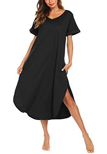 AVIIER Plus Size Sleepwear Woman Long Lounger Comfy Sleep Tee Shirts Dresses (Black, XXL) ()