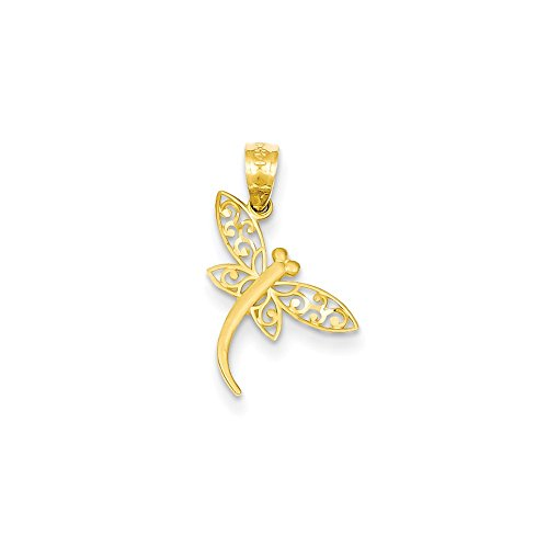 14K Yellow Gold Diamond-Cut Dragonfly Charm Pendant 14k Gold Dragonfly Charm