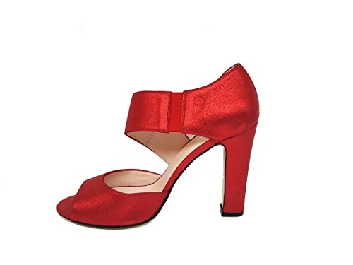 GENNIA NENET - Women´s Leather Sandals Open Toe with Stiletto Heel Leather Suede Metal Red v5x016