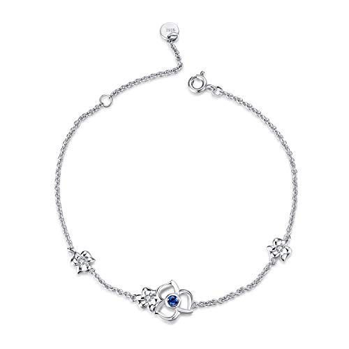 (WINNICACA Clover Bracelet Sterling Silver Blue Crystal Flower Bracelets for Women Girls Irish Gifts)