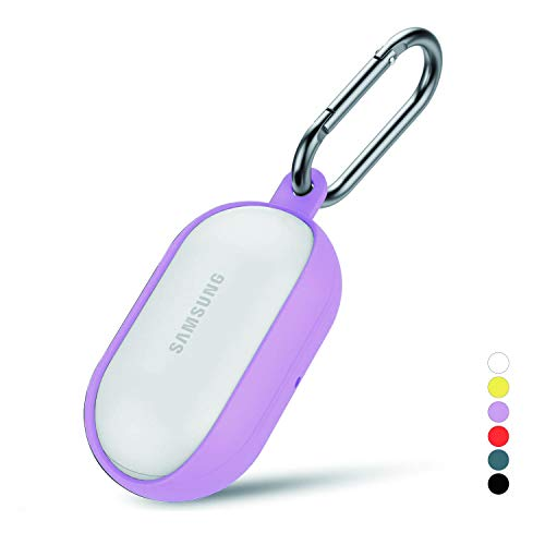 Galaxy Buds Case Cover Silicone Bean fit Wireless Charging, Protective Accessories Skin Soft and Flexible, Anti-Scratch, Shock Resistant Nonslip Carabiner Charging Case for Galaxy Buds (Purple)