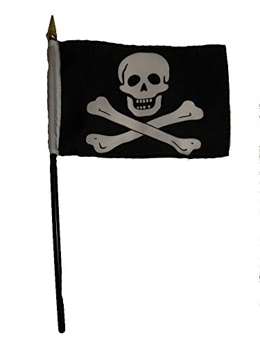 ALBATROS Jolly Roger Pirate No Patch Flag 4 inch x 6 inch Desk Set Table Stick with Black Base for Home and Parades, Official Party, All Weather Indoors Outdoors ()
