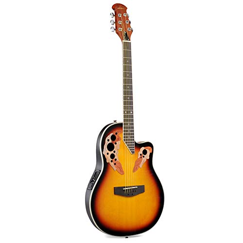 ADM Full Size Acoustic Electric Cutaway Guitar, Round Back Mutil Hole with 4-Band EQ, Sunset