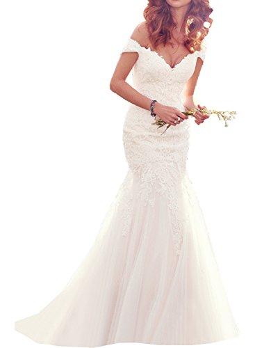 La_Marie Braut Elfenbein Kurzarm lang Hochzeitskleider Brautkleider Brautmode Meerjungfrau Rock Neu