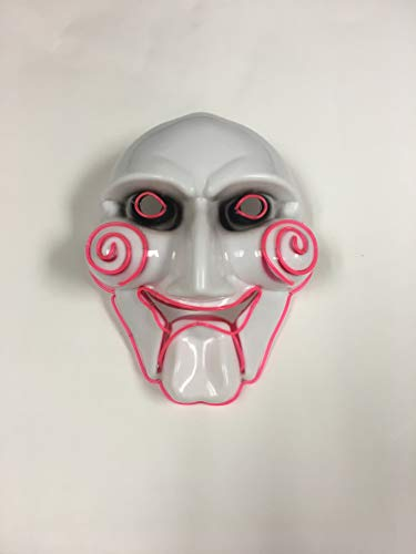 Gloworks Jigsaw El Wire mask Men's Light up Saw Movie Creepy Halloween Jigsaw Puppet Mask, Red -
