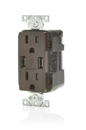 Leviton T5632 USB Charger/Tamper-Resistant Duplex Receptacle, 15-Amp, 8-Pack, Brown by Leviton (Image #1)