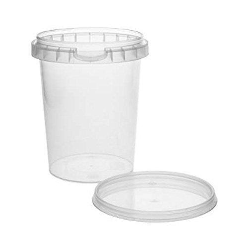 10 x Caja de plástico con vasos de plástico con tapa 520 ml, sin ...