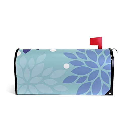 Dahlia Pinnata Flower Grey Blue Print Mailbox Covers Magnetic Standard Size Mail Boxes Makeover Mail Wraps Cover Letter Post Box