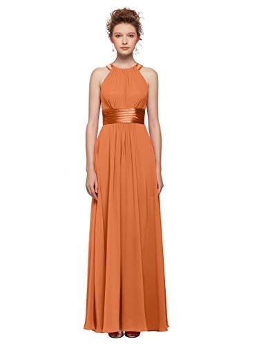 AW Women's Bridesmaid Dresses Long Jewel Neck Prom Dresses 2019 Chiffon Evening Formal Dresses, Burnt Orange, - Orange Jewel