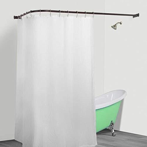 MISC L Shaped Shower Curtain Rod Bronze Aluminum Wrap Around Pole Round Corner Bathroom Angled Dark Rubbed, Rustproof