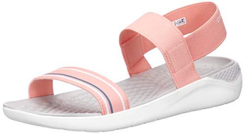 Crocs Women's LiteRide Sandal Flat, Melon/White, 4 M US]()