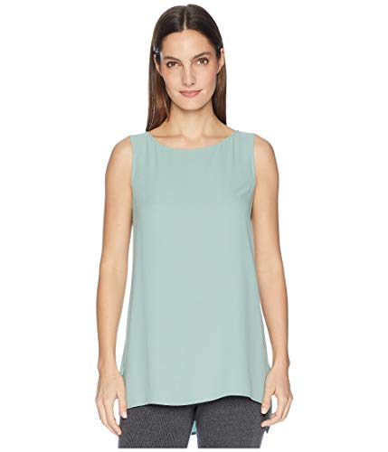 Eileen Fisher ELM Silk Georgette Crepe Bateau Neck Long Shell (M)