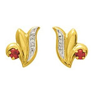 So Chic Bijoux © Boucles d'oreilles Femme Puces Fleur Lis Lys Rubis Rouge & Oxyde de Zirconium Blanc Or Jaune 750/000 (18 carats)
